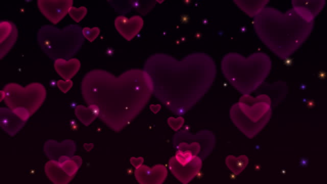 hearts & sparkles looping hd background - valentines background stock videos & royalty-free footage