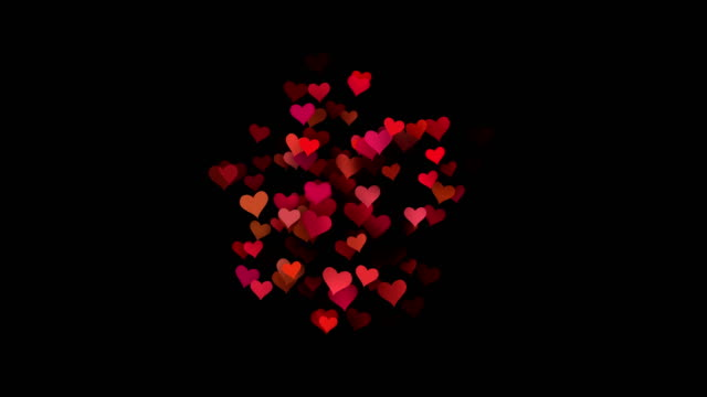 hearts - valentine's concept (loop 4k + alpha) - heart stock videos & royalty-free footage