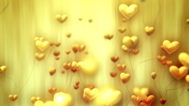 Heart-Shaped Ballons Flying (Yellow) - Loop
