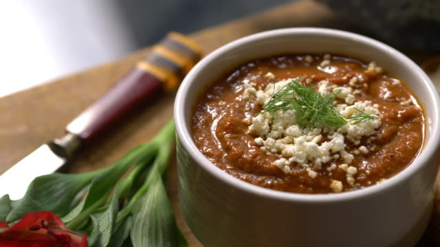 hearty and thick tomato soup - feta stock videos & royalty-free footage