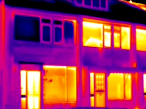 heat loss from houses, thermography.. - thermal imaging stock videos & royalty-free footage