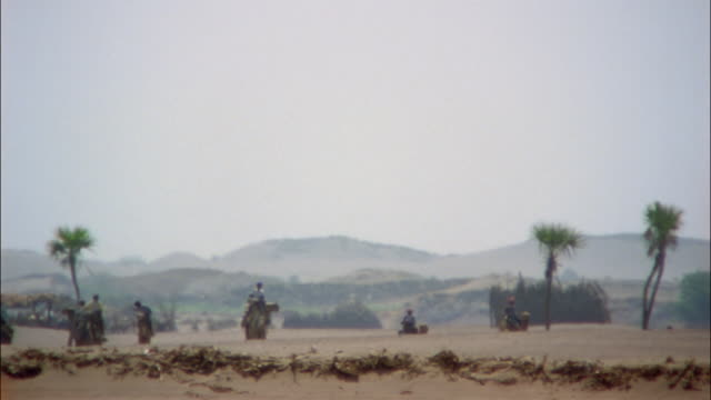 heat waves shimmer over a desert as riders travel on camels. - yemen stock videos and b-roll footage