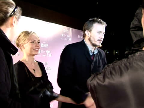 Heath Ledger and Michelle Williams being interviewed by broadcast media at the PreBAFTA Awards Party The London Party on February 18 2006