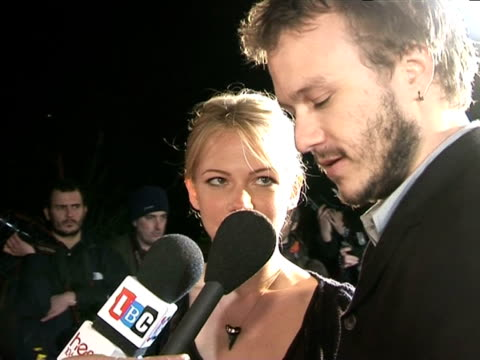 heath ledger and michelle williams being interviewed by broadcast media at the pre-bafta awards party: the london party on february 18, 2006. - heath ledger stock videos & royalty-free footage