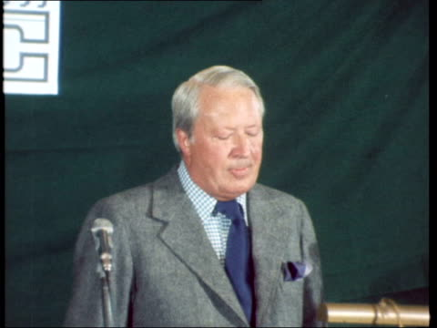 hastings young conservatives club int edward heath speech sot in today's worldcannot be over estimated - edward heath stock-videos und b-roll-filmmaterial