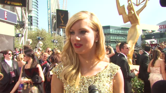 heather morris on who she's wearing and why she picked it, the show's nominations, if they have a speech prepared, what parties she's hitting, glee's... - emmy awards nominations stock videos & royalty-free footage