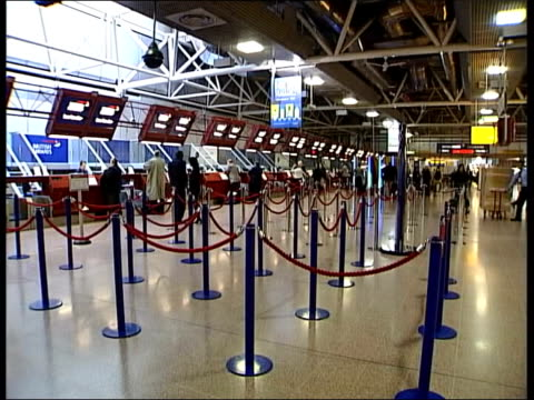 Heathrow Airport fifth terminal decision INT GV Empty British Airways checkin area LMS Empty checkin desks LA Empty checkin area