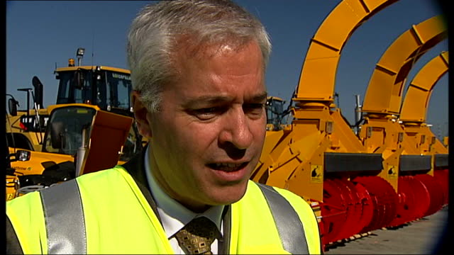 heathrow airport prepares for winter fleet of snowclearance vehicles along on tarmac normand boivin interview sot new deicing vehicle along on runway... - fleet of vehicles stock videos and b-roll footage
