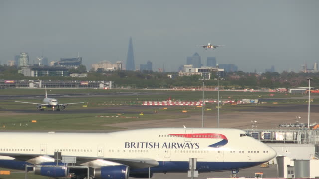 heathrow airport - landing touching down stock videos & royalty-free footage