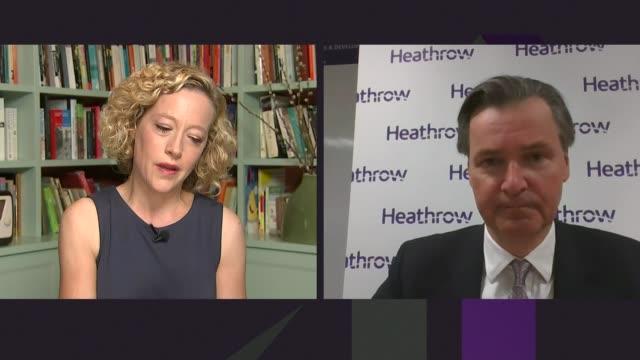 heathrow airport wants 'double testing' regime to reduce quarantine england london int john hollandkaye 2way interview sot - キャシー・ニューマン点の映像素材/bロール