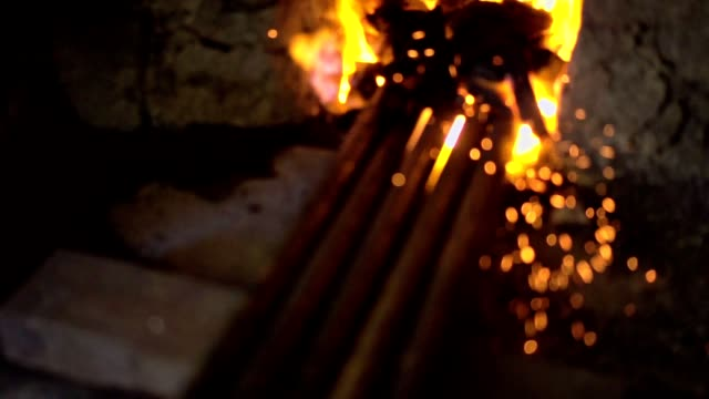 heating iron for further processing - hearth oven stock videos & royalty-free footage