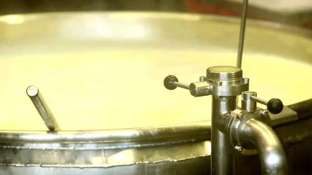 Heating Milk for Cheese Production Closeup