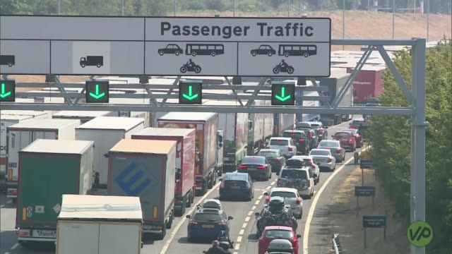 hot weather continues but rain forecast england kent dover lorries and cars queuing at eurotunnel long shot eurotunnel shuttle along - dover england stock videos & royalty-free footage