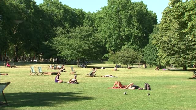 vídeos de stock, filmes e b-roll de hottest day of the year so far / wildfires on moorland uk london people sunbathing in park on sunny day england london ext women sunbathing in park... - onda de calor fenômeno natural