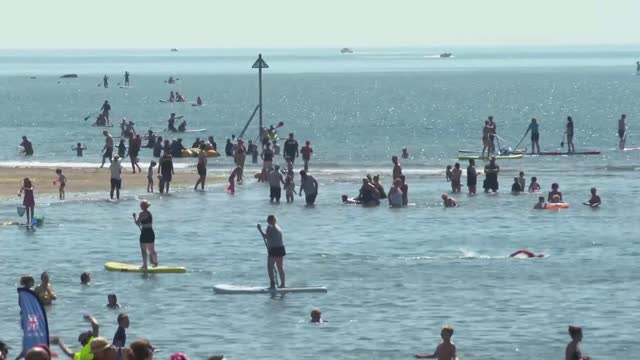 heatwave in england / six drownings as people try to cool off in lakes and rivers; england: ext couple sunbathing on beach people along on beach wide... - sunbathing stock videos & royalty-free footage
