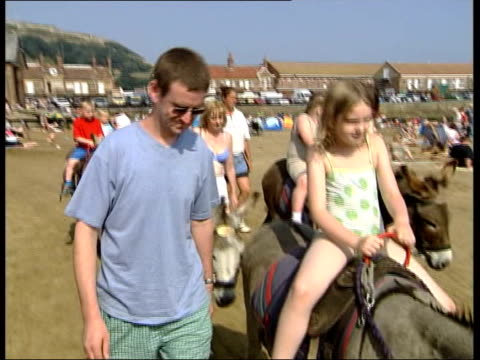vídeos y material grabado en eventos de stock de heatwave travel chaos/holidaymakers itn yorkshire scarborough holidaymakers into tourist office to ask about accomodation woman at desk telling them... - burro