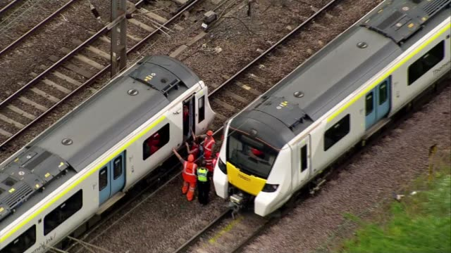 uk experiences second hottest day on record england london west hampstead ext various shots of passengers being assisted off thameslink train and... - heat stock videos & royalty-free footage