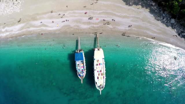 heaven beach - aerial video - fethiye stock videos and b-roll footage