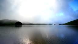 Heavenly lake at dusk