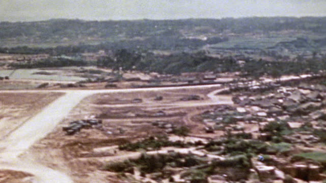 Heavily bombed or shelled area around the harbor and airfield during World War Two / Okinawa Japan