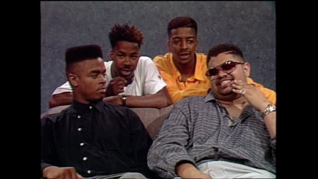 heavy d & the boyz members including heavy d (died november 8 trouble t-roy g-whiz and dj eddie f / interview with video music box. - レゲエ点の映像素材/bロール