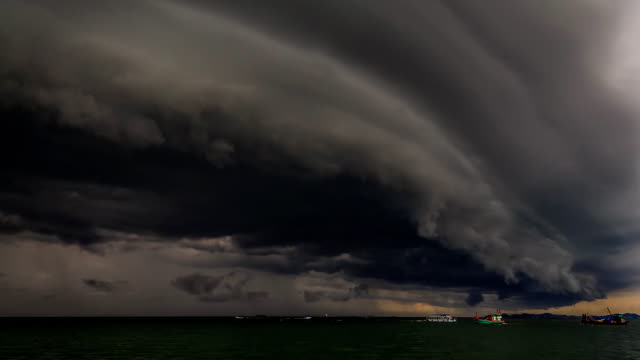 heavy gale black stormy shelf cloud above the sea timelapse - storm cloud stock videos & royalty-free footage