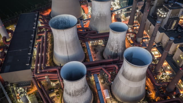 heavy industry - aerial view - coal fired power station stock videos & royalty-free footage