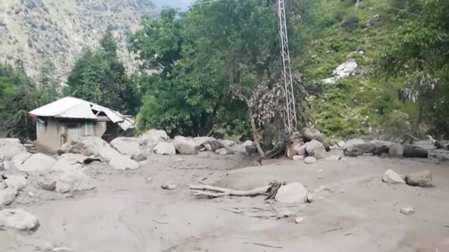 heavy monsoon rain trigger flash floods in pakistanadministered kashmir killing at least 23 people and damaging more than 50 houses - trigger stock videos & royalty-free footage