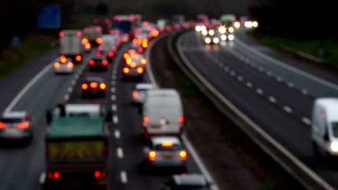 heavy motorway traffic westbound, m25 greater london. - traffic jam stock videos & royalty-free footage