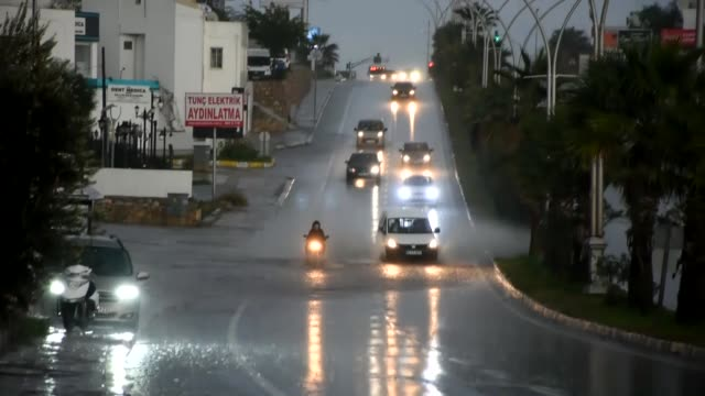 heavy rain causes flooding in the bodrum district of turkey's southwestern mugla province on december 16 2018 - mugla province stock videos & royalty-free footage