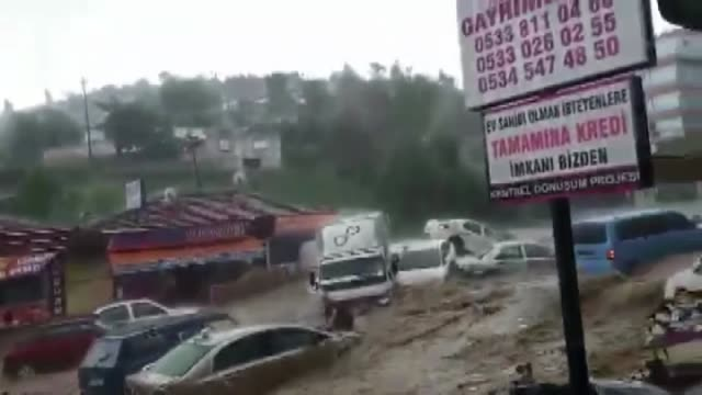 Heavy rain causes floods in Mamak district of Ankara Turkey on May 05 2018 Ankara was hit Saturday by a sudden flood which was caused by heavy...