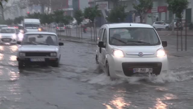 heavy rain causes floods turkey's mediterranean city of antalya on january 11 2018 - mediterranean turkey stock videos and b-roll footage