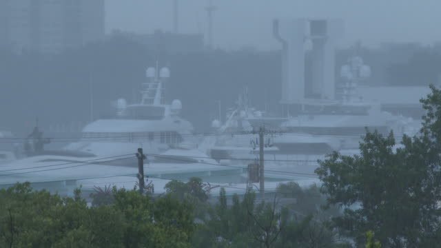 Heavy Rain Falling, Torrential Downpours, Thunderstorm, Marina