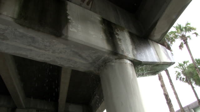 Heavy rain falls through cracks in an overpass on Highway 27 in the Florida Everglades during a severe thunderstorm