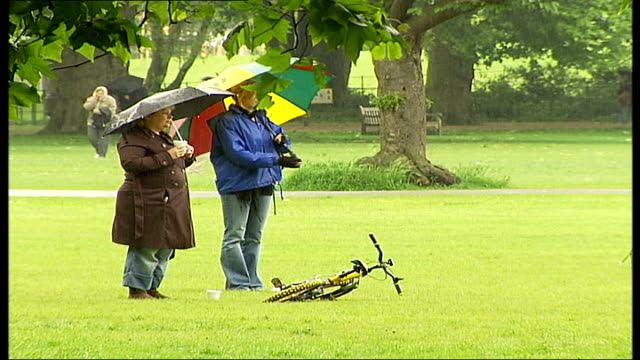 heavy rain on bank holiday monday raining **music overlaid over following sequence sot** people standing under umbrellas in park sign blowing in... - parasol stock videos & royalty-free footage