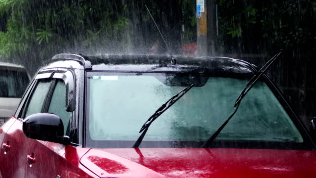 heavy rain on car's roof - drenched stock videos & royalty-free footage