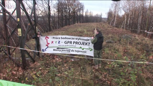 heavy rain on monday put a damper on moves by experts to begin inspecting the alleged site in poland of a fabled nazi train that could contain looted... - treasure hunt stock videos & royalty-free footage