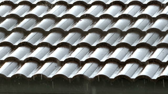 heavy rain on roof tiles. - telephoto lens stock videos and b-roll footage