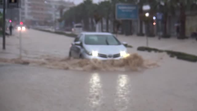 heavy rainfall in aydin's kusadasi district causes the flooding on may 06 2018 - aydın province stock videos and b-roll footage