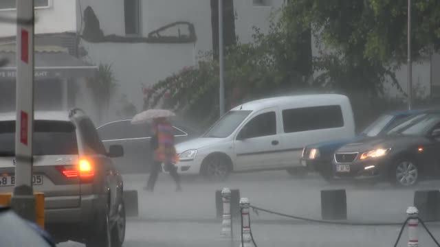 heavy rainfall leaves cars submerged in water and causes flooding in the bodrum district of turkey's southwestern mugla province on november 29 2018 - mugla province stock videos & royalty-free footage