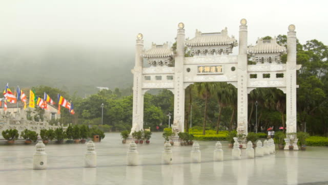 heavy raining at po lin monastery - lantau stock videos and b-roll footage