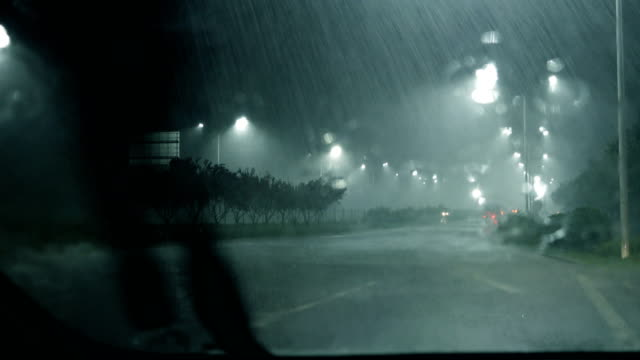 heavy rain,looking from car window