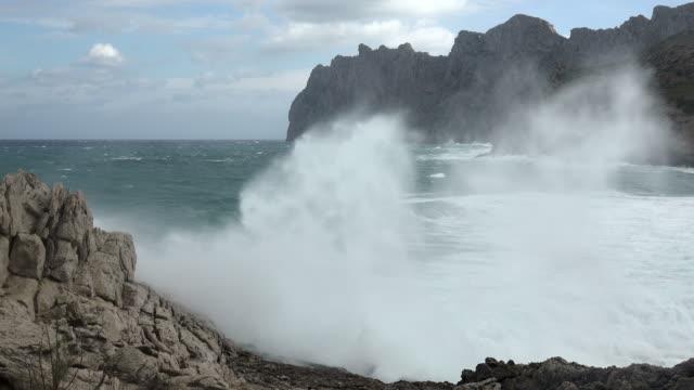 heavy sea at rocky shore - ledge stock videos & royalty-free footage