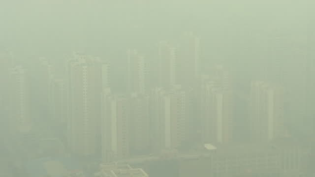 Heavy smog covering the Chinese city of Shijiazhuang