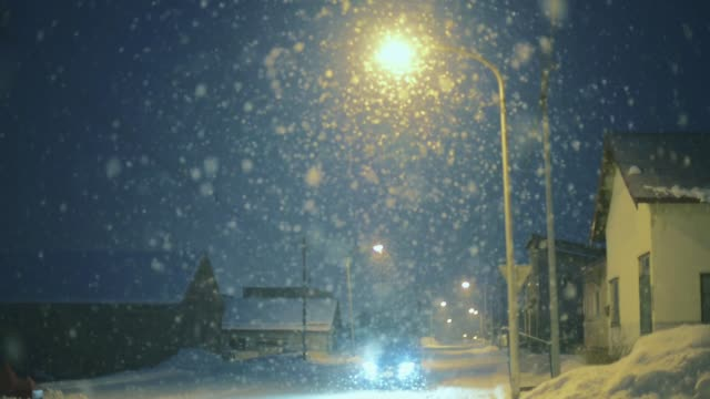 heavy snow at night, hokkaido, japan - deep snow stock videos & royalty-free footage