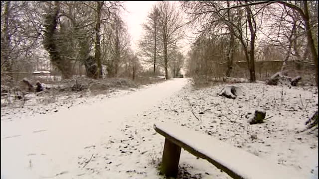 Heavy snow falls across England and Wales LOCATION Snowcovered bench and pathway through trees Country landscape PAN to frozen lake