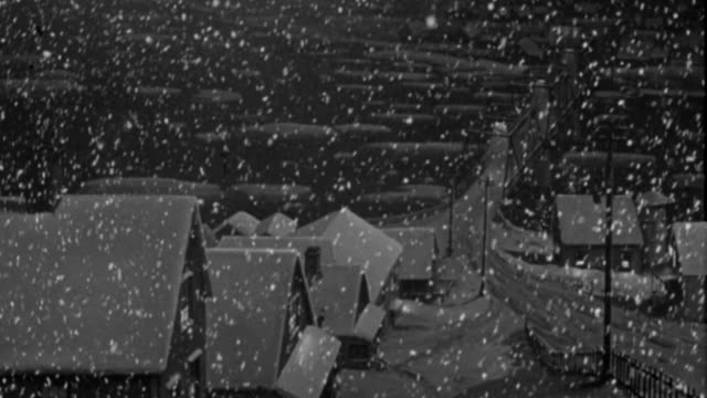 vídeos de stock e filmes b-roll de heavy snow falls on houses in a quiet neighborhood. - 1946