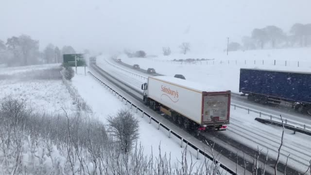 Heavy snow on the A9 between Dunblane and Perth A yellow warning for snow and ice is in place across much of Scotland Northern Ireland northern...