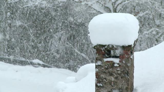 stockvideo's en b-roll-footage met cu heavy snowfall during winter  / saarburg, rhineland-palatinate, germany - schoorsteen