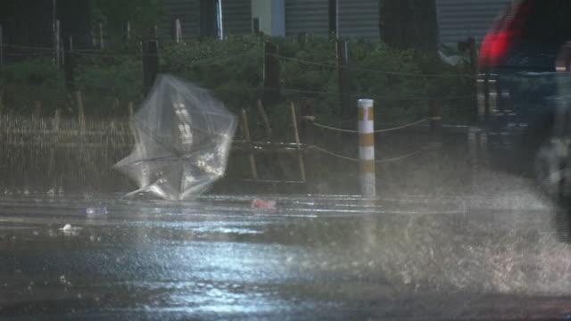 heavy storm by typhoon in shibuya, tokyo, japan - 集中豪雨点の映像素材/bロール
